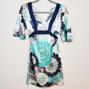 Guess Blue and Silver Floral Silk Kimono Dress